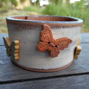Upcycled Butterfly Buttons Leather Cuff Bracelet